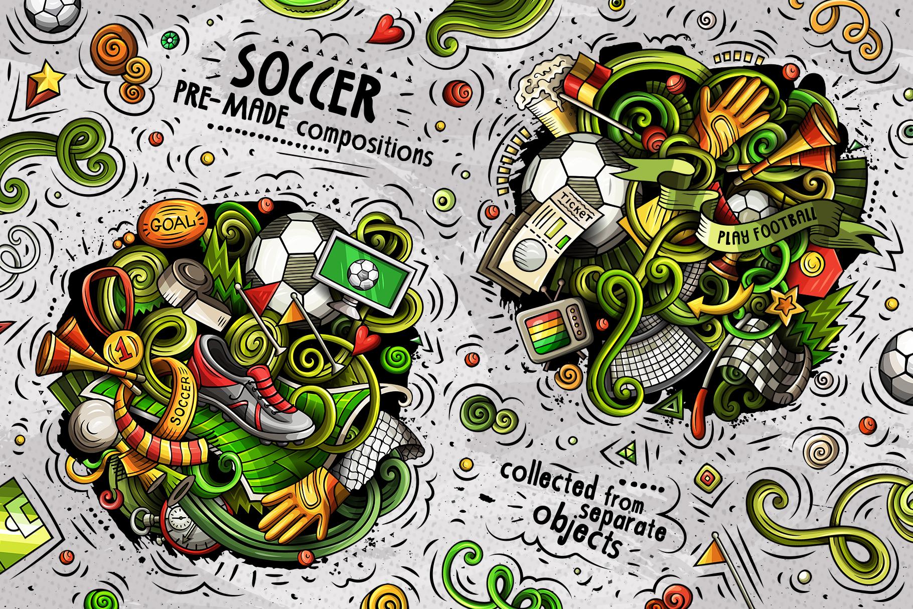 Soccer Cartoon Doodle Big Pack example image 2