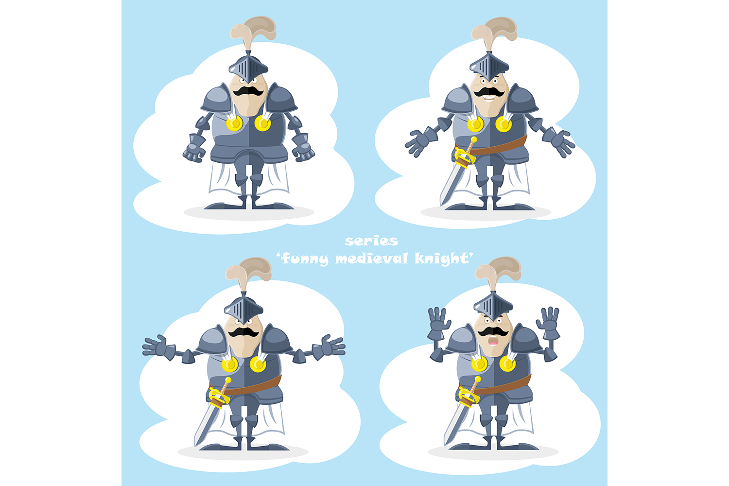 Set of 20 figure funny medieval knight or soldier. Vector illustration example image 3