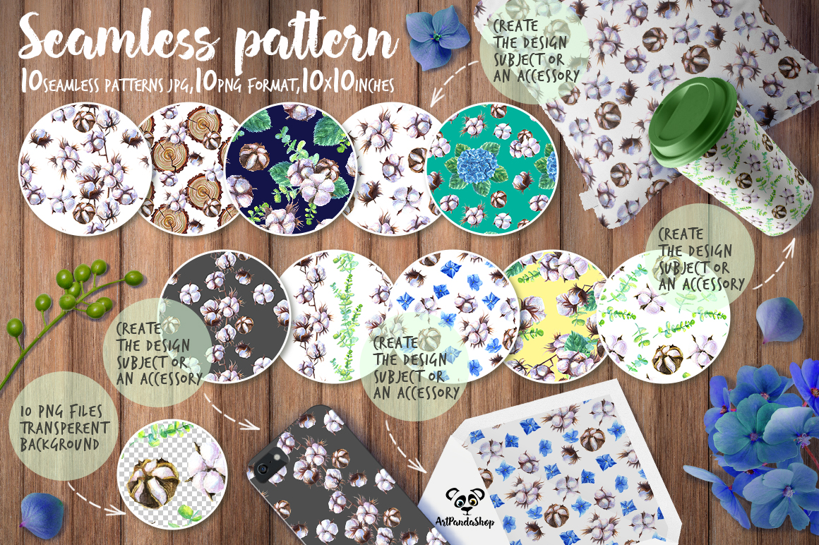 Seamless pattern Watercolor cotton and hydrangea example image 1
