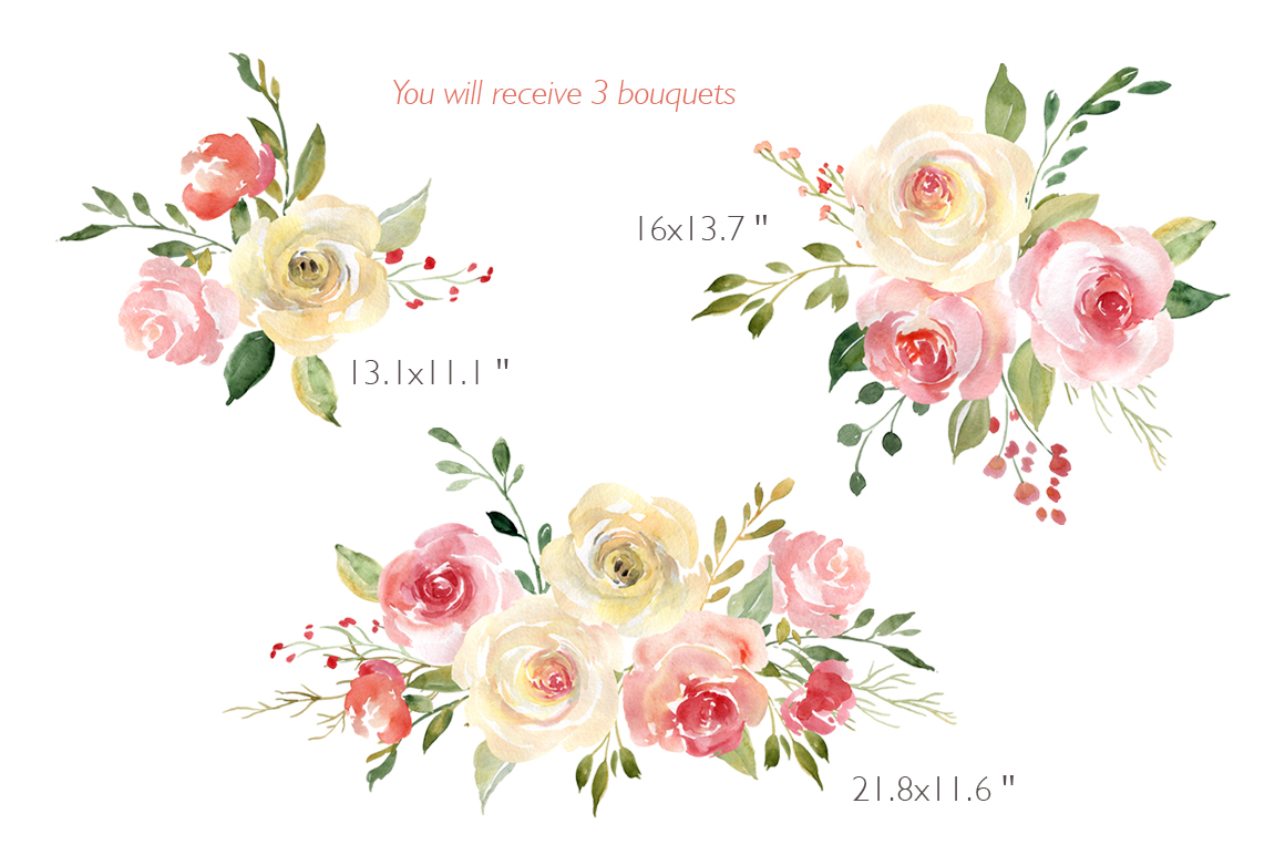Blush Watercolor Flowers Roses Peony PNG Collection example image 3