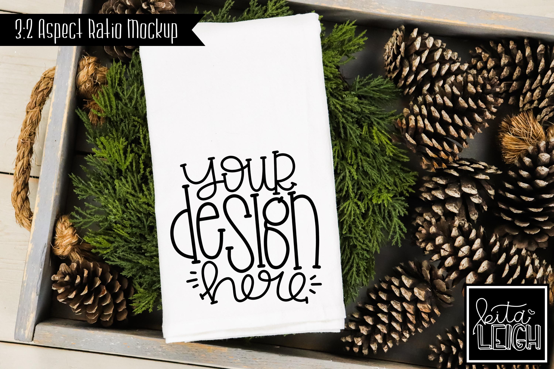 Flour Sack Tea Towel Pinecone Fall and Christmas Mockup example image 1