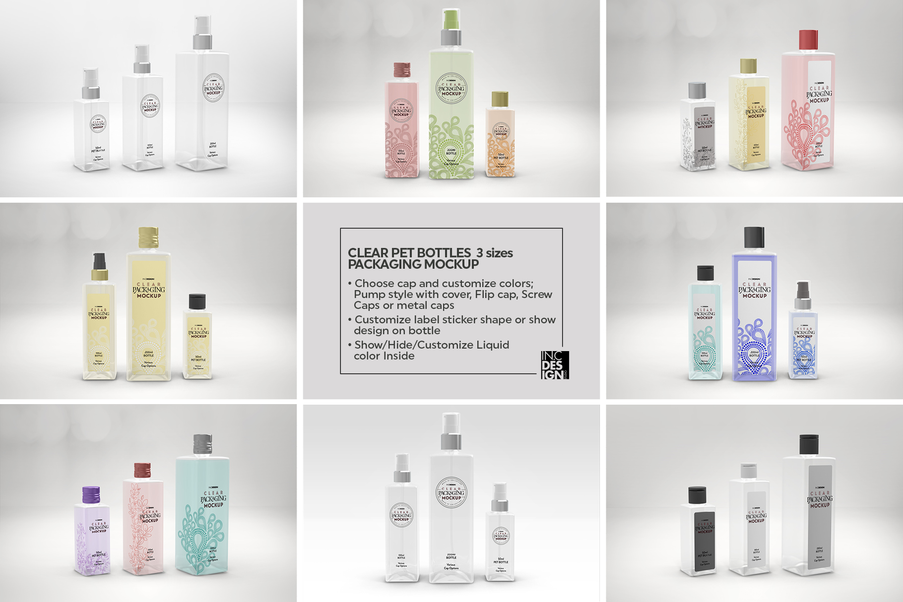 Clear Squared PET 3Bottles Packaging Mockup example image 3