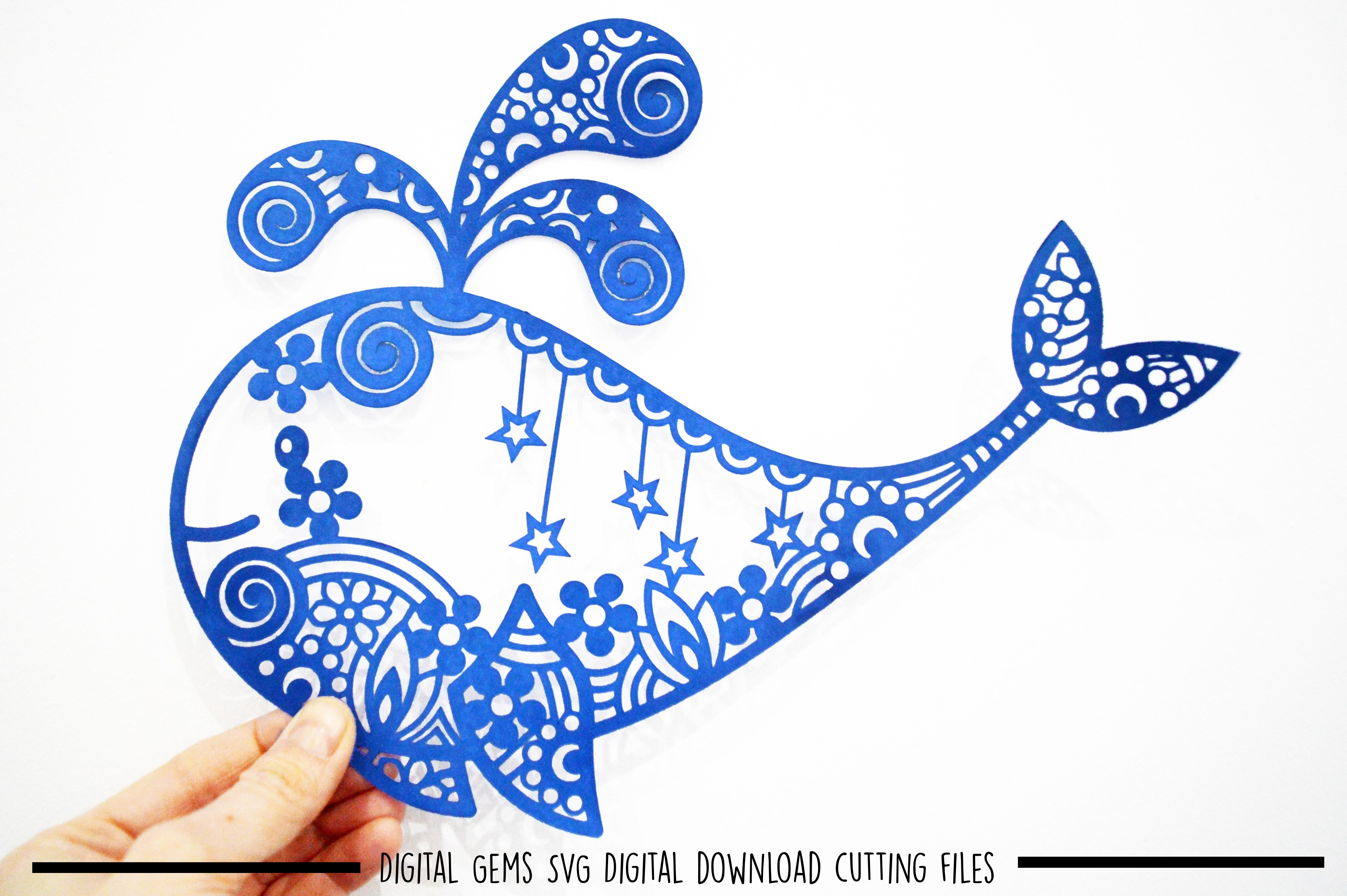 Whale paper cut SVG / DXF / EPS files example image 2