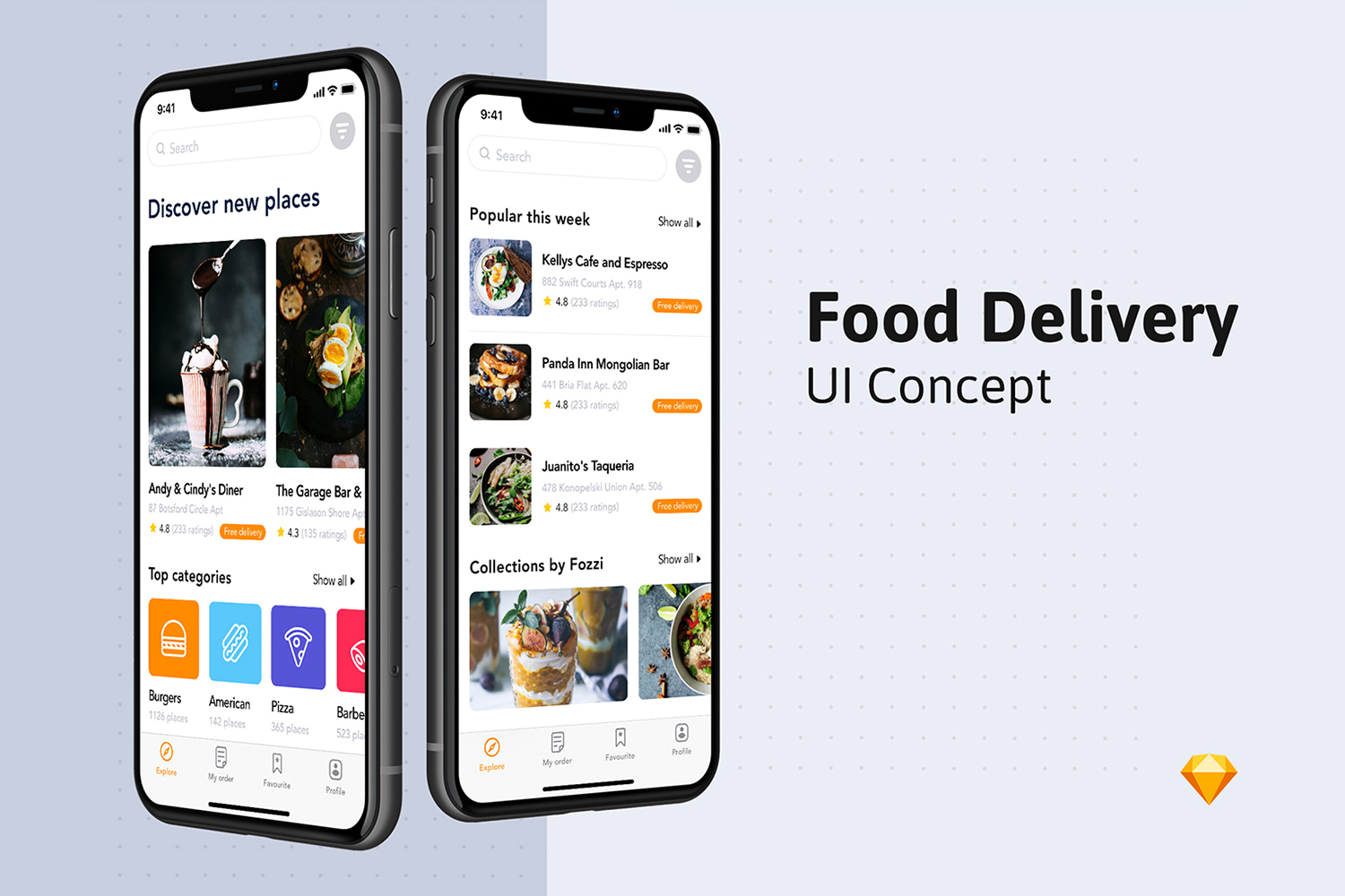 Fozzi - Food Delivery App UI Kit example image 2