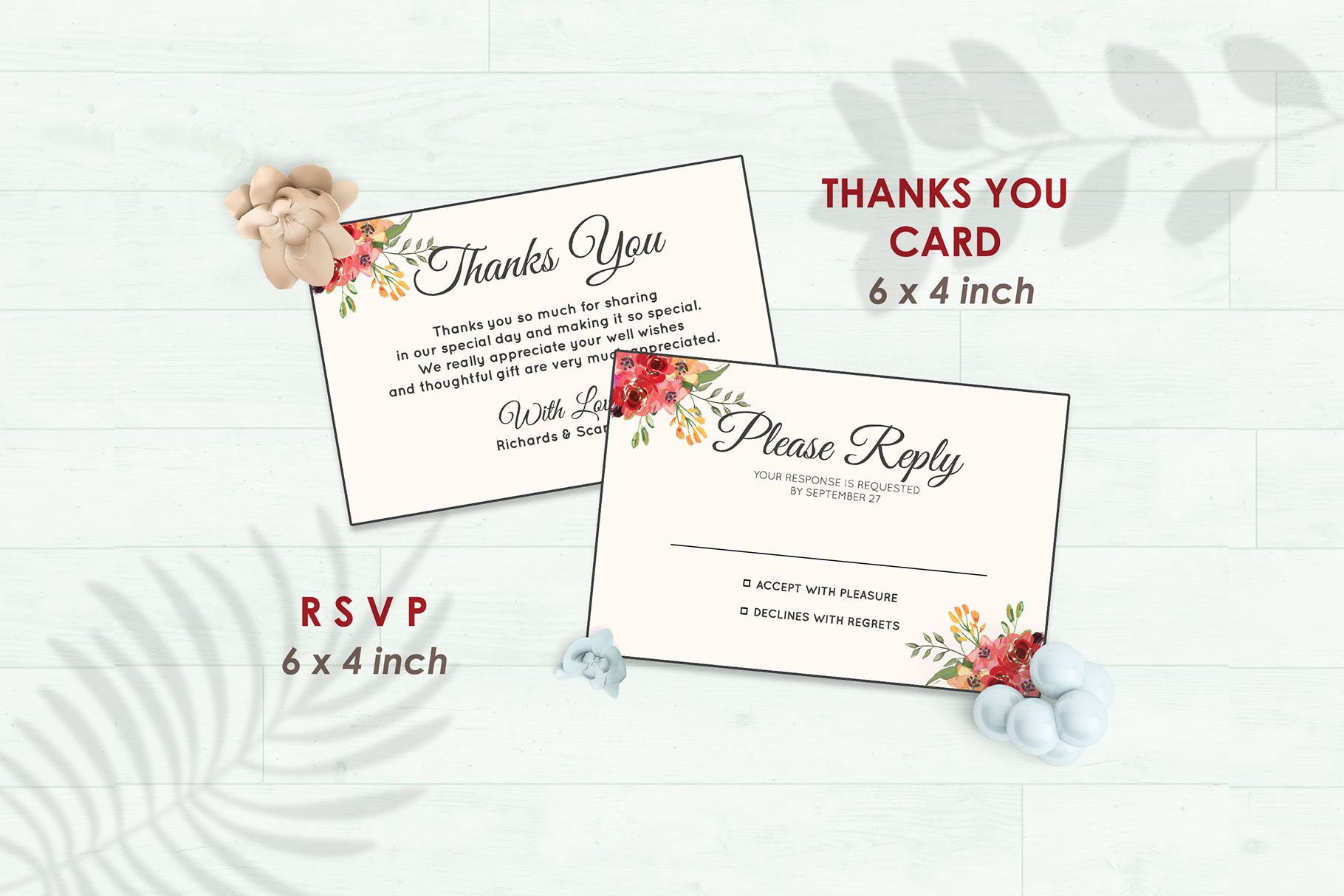Wedding Invitation Set #2 Watercolor Floral Flower Style example image 4