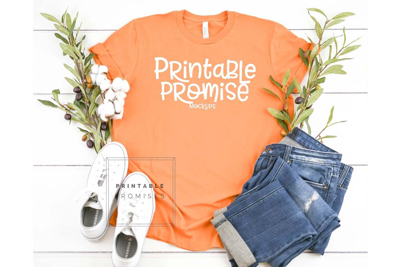 Bella Canvas 3001 Burnt Orange Shirt Mock Up example image 1