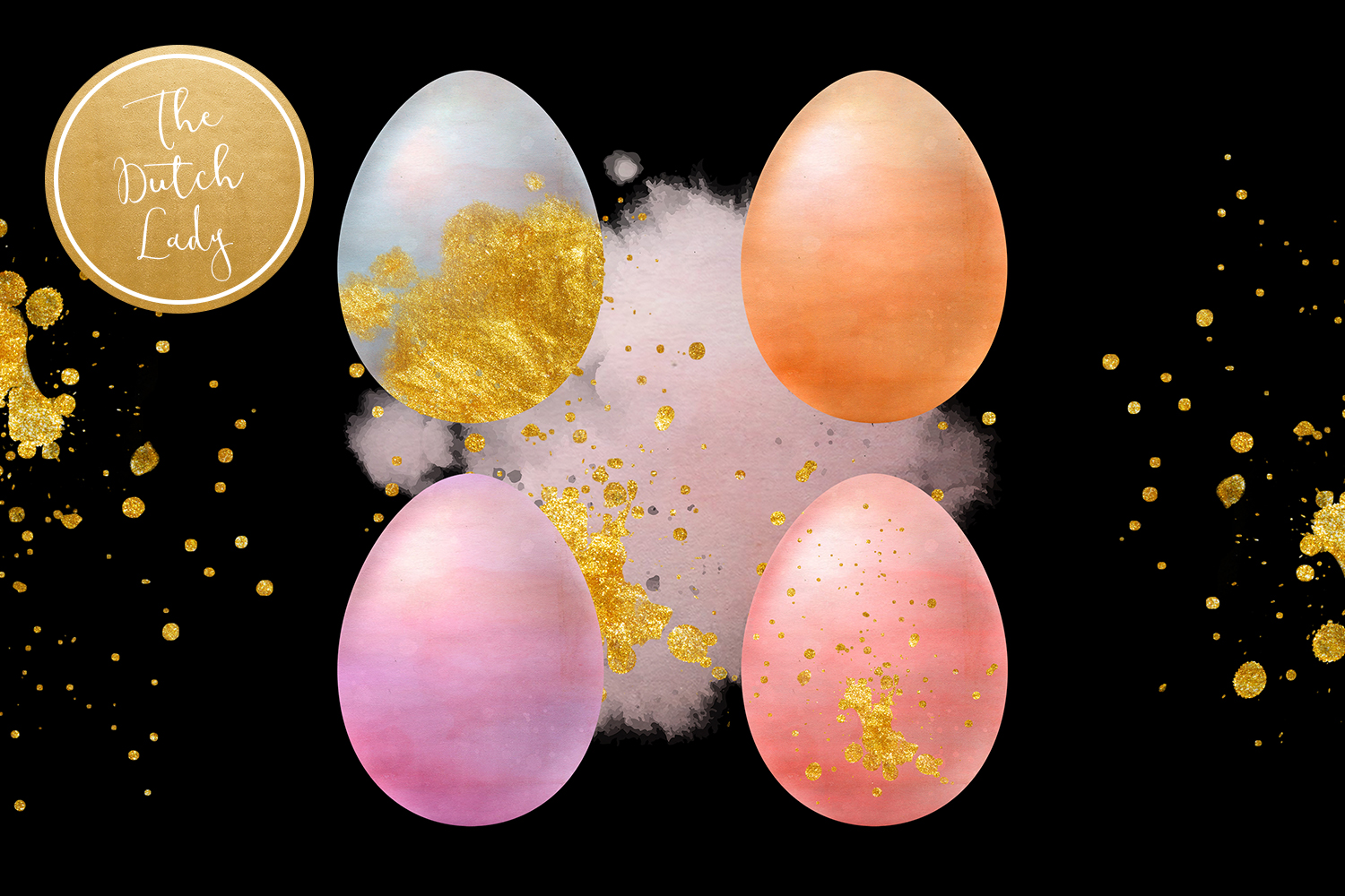 Sparkly Easter Eggs Clipart Set example image 5