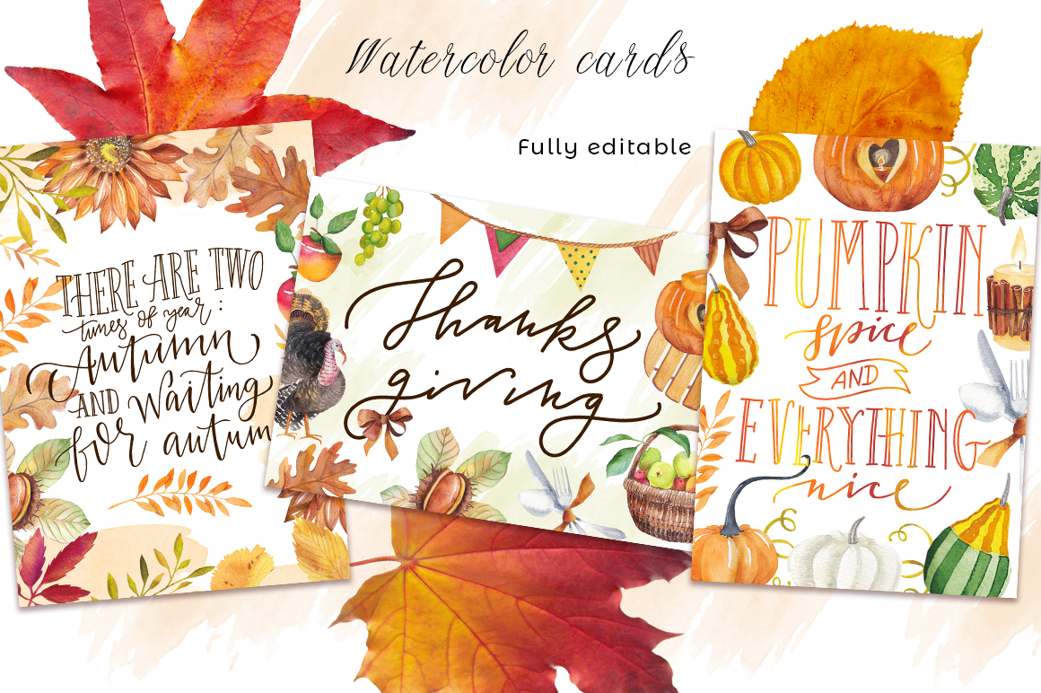 Autumn days - mood watercolor bundle example image 7