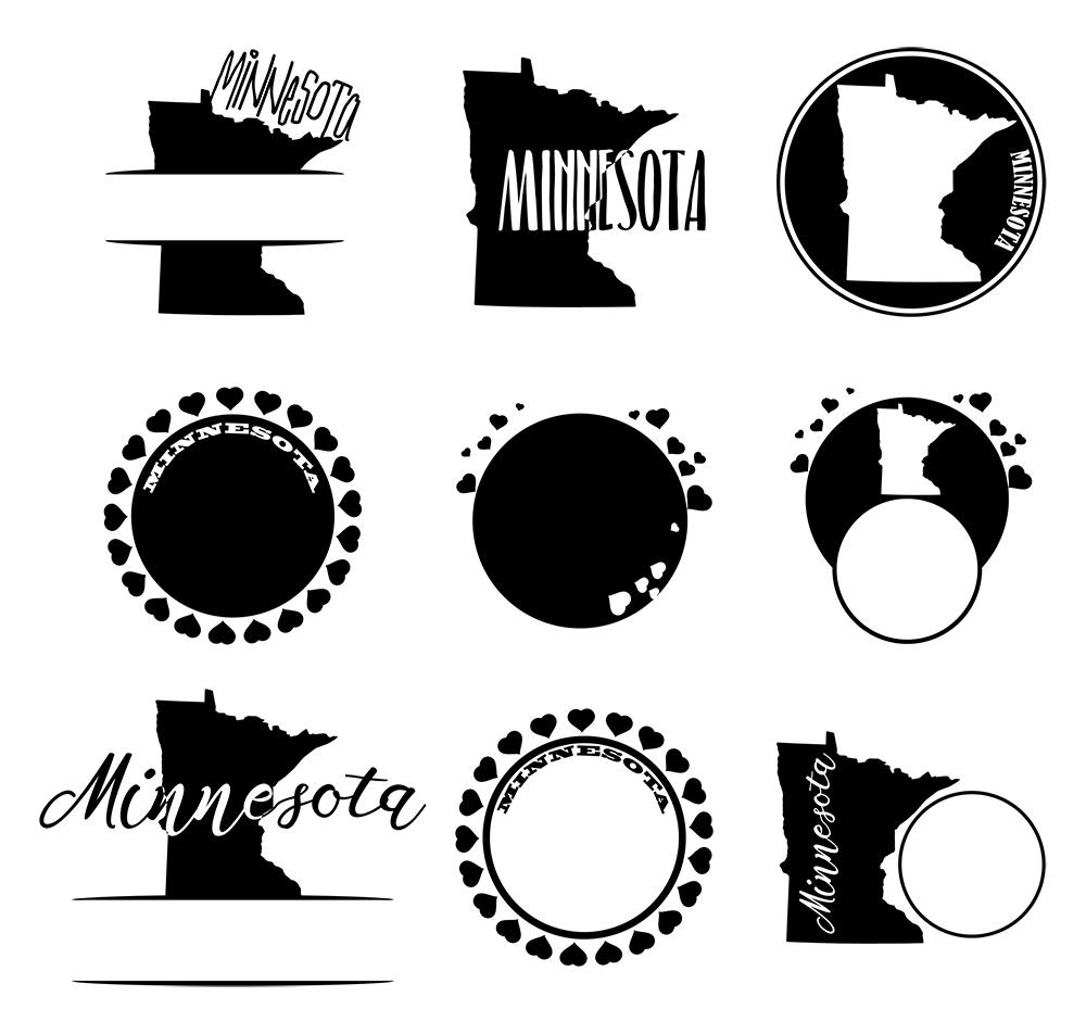 Minnesota Monograms SVG, JPG, PNG, DWG, CDR, EPS, AI example image 3