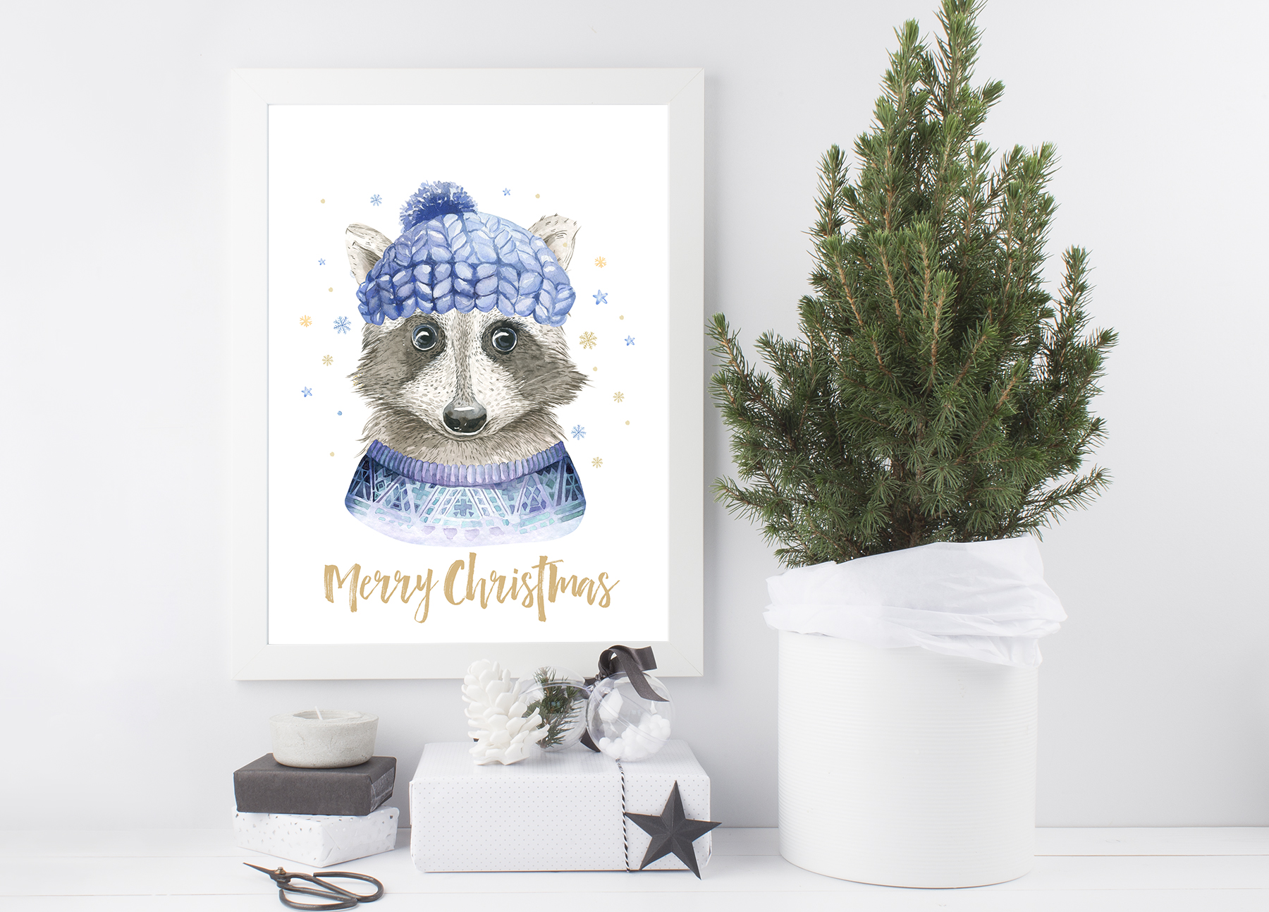 Christmas raccoon and deer animals example image 12