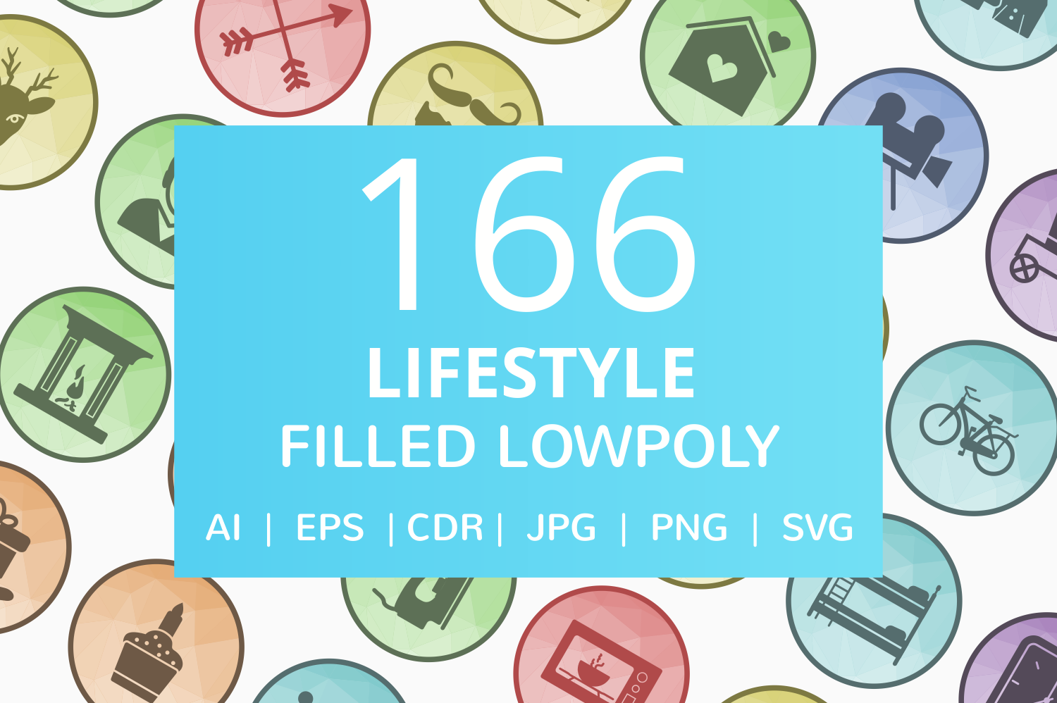 166 Lifestyle Filled Low Poly Icons example image 1