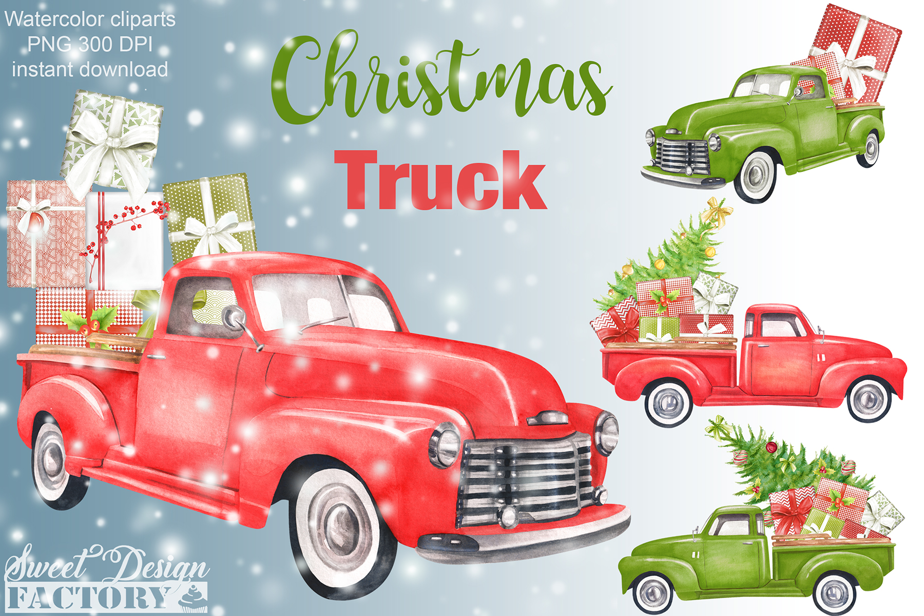 Watercolor Christmas retro truck clipart example image 1