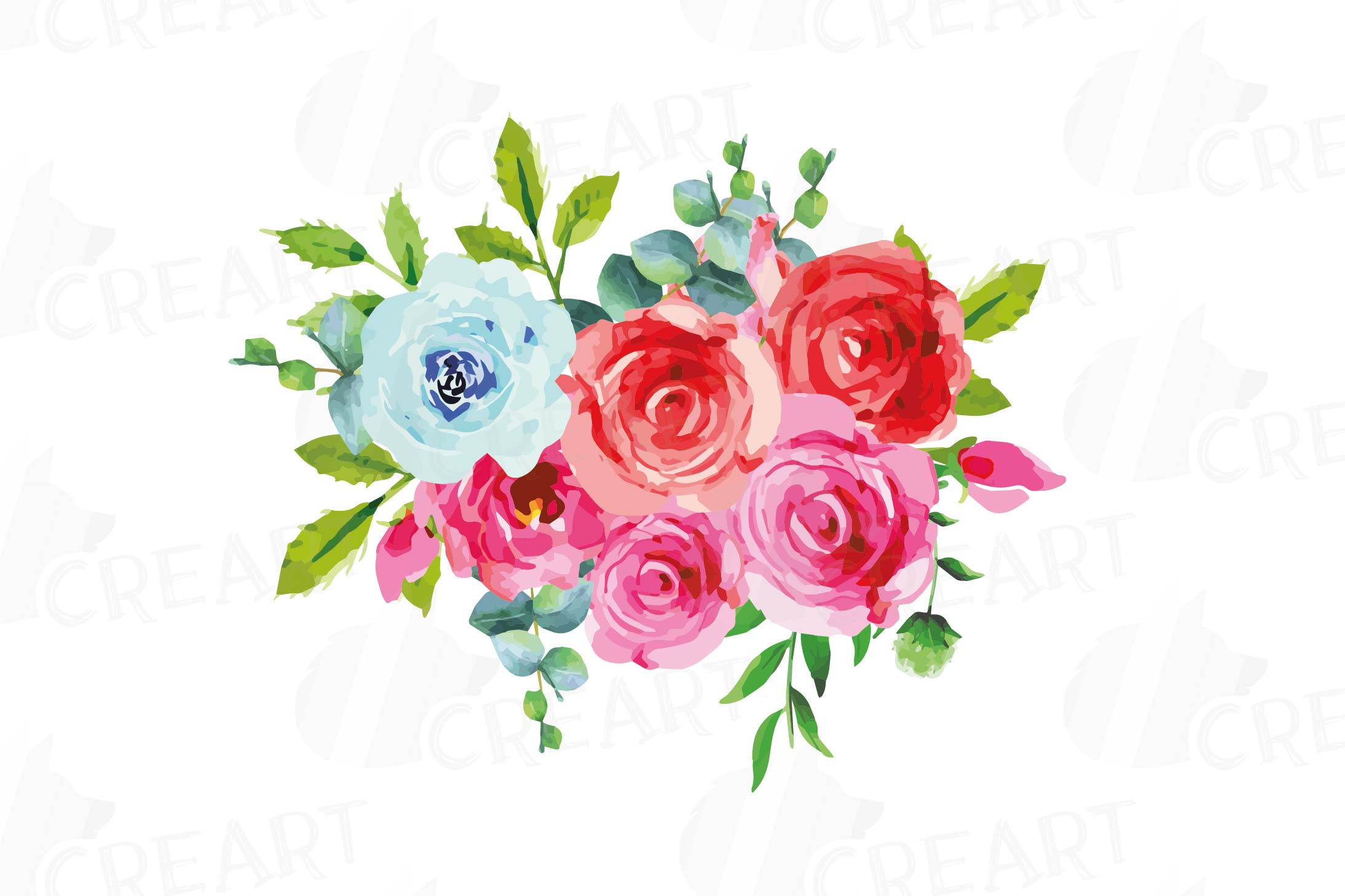 Boho pink and blue watercolor wedding bouquets, floral png example image 4