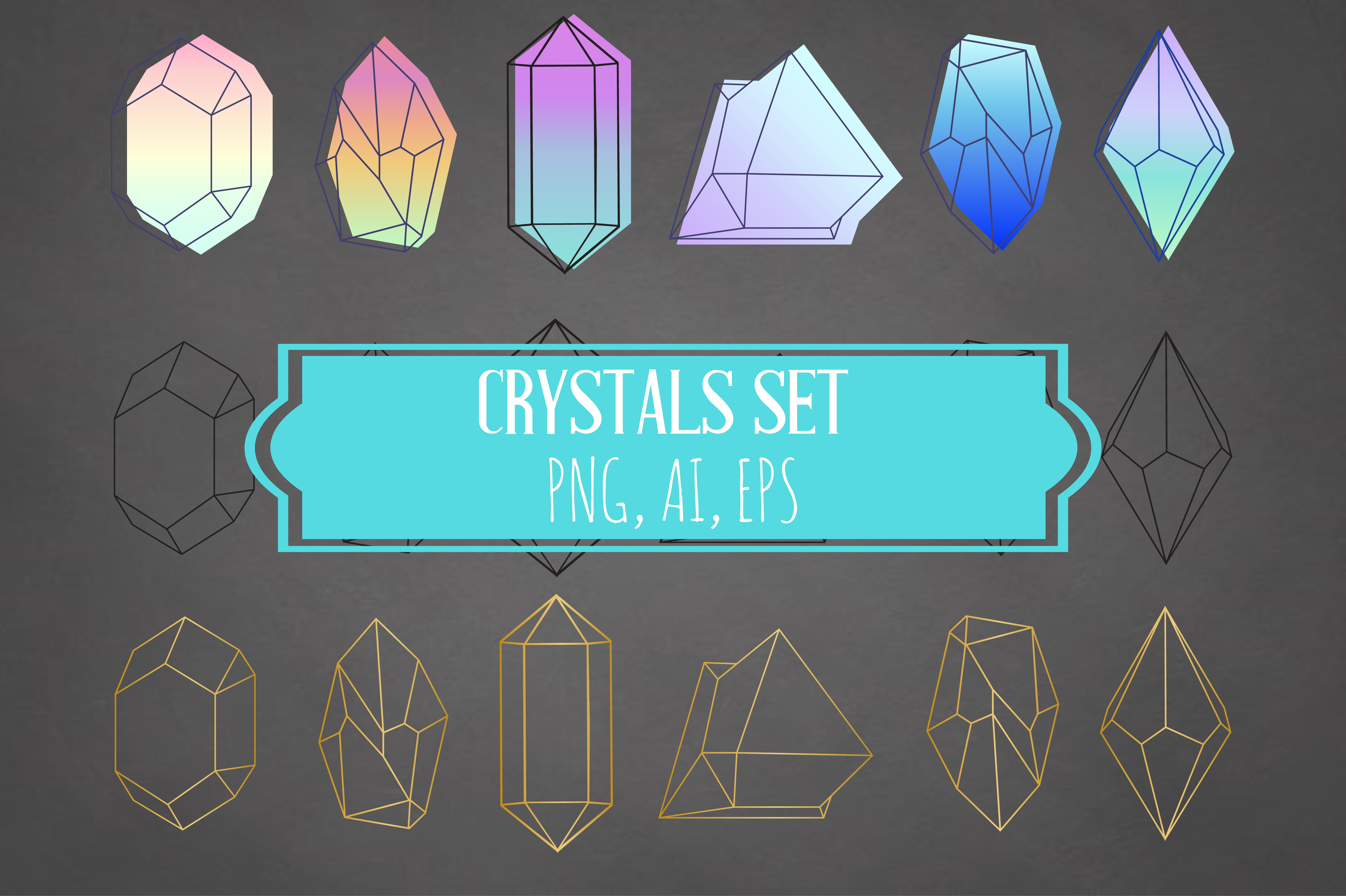 Crystals Set Neon Gold Black - Ai Eps Png example image 1