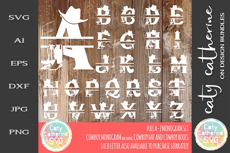 Full Alphabet A-Z Cowboy Monogram Bundle SVG example image 1