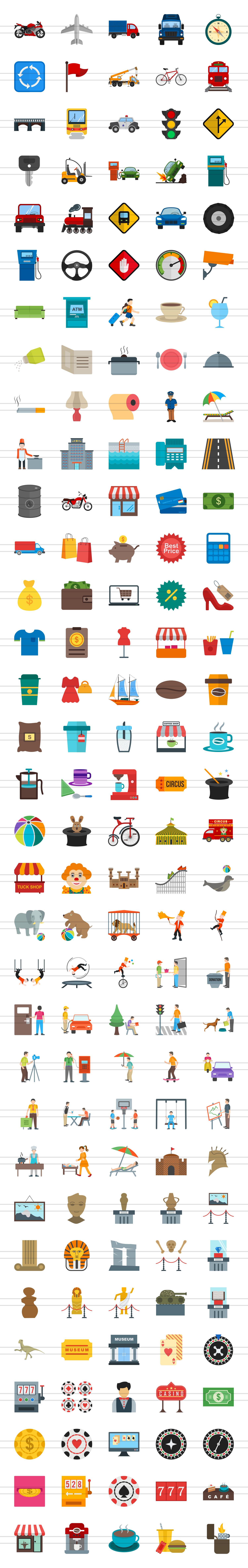 166 City Life Flat Icons example image 2