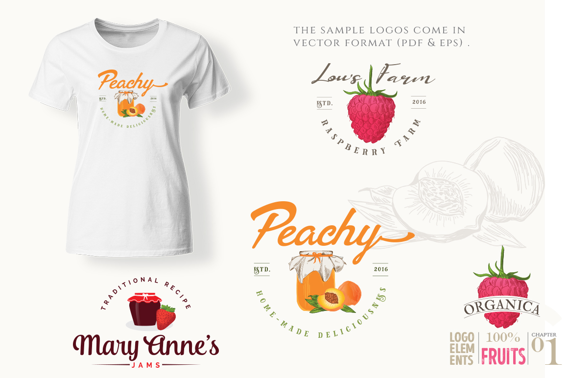 ORGANIC LOGO ELEMENTS  FRUITS example image 12