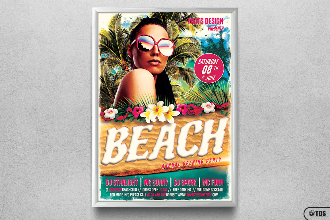 Beach Party Flyer Template V4 example image 6
