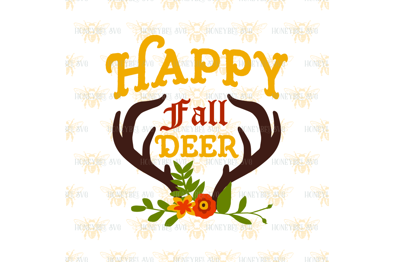 Happy Fall Deer Bouquet svg example image 2
