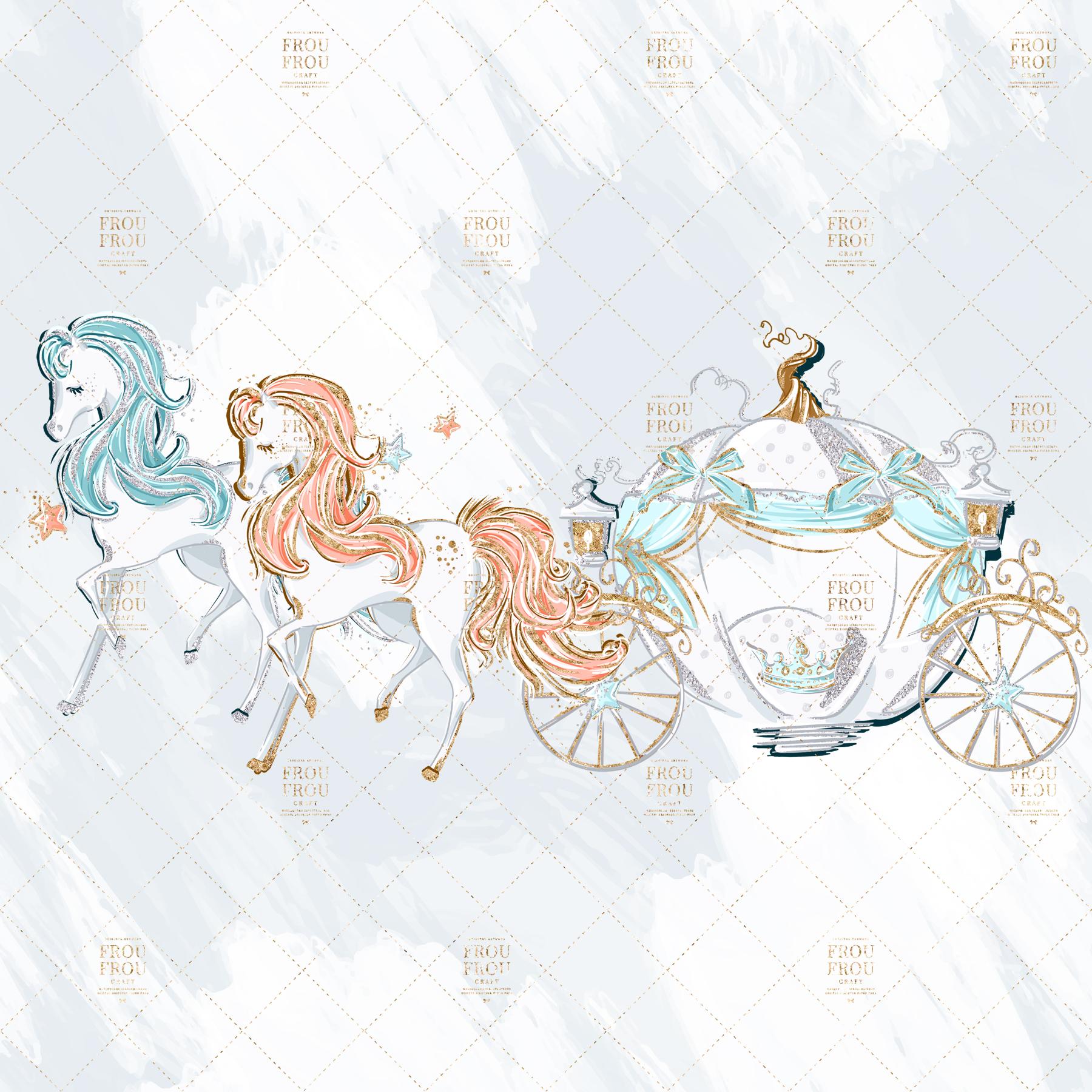 Princess Cinderella Fairy Tale Gold Glitter Clip Art example image 2