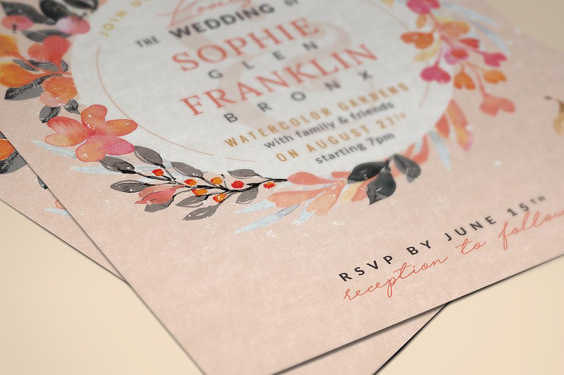 Blush Noir Wedding Invite V example image 3