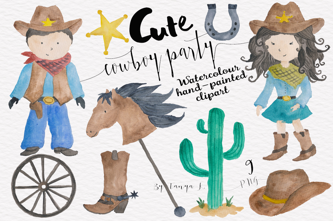 Cowboy Kids Watercolor Clipart example image 1