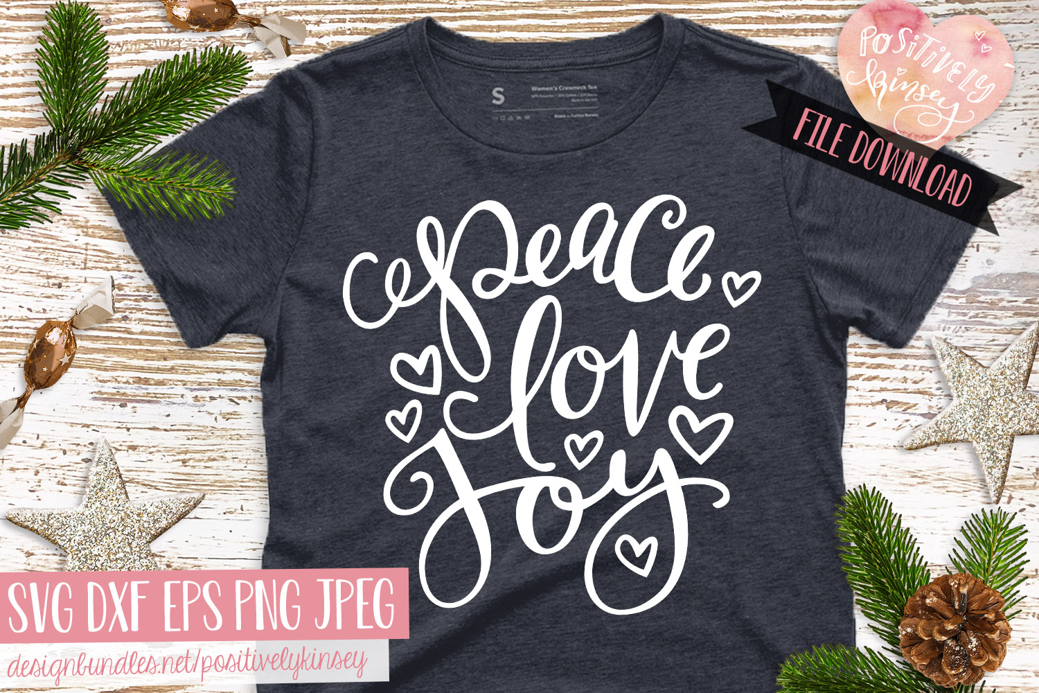 Christmas Quote SVG DXF PNG EPS Peace Love Joy SVG Design example image 2
