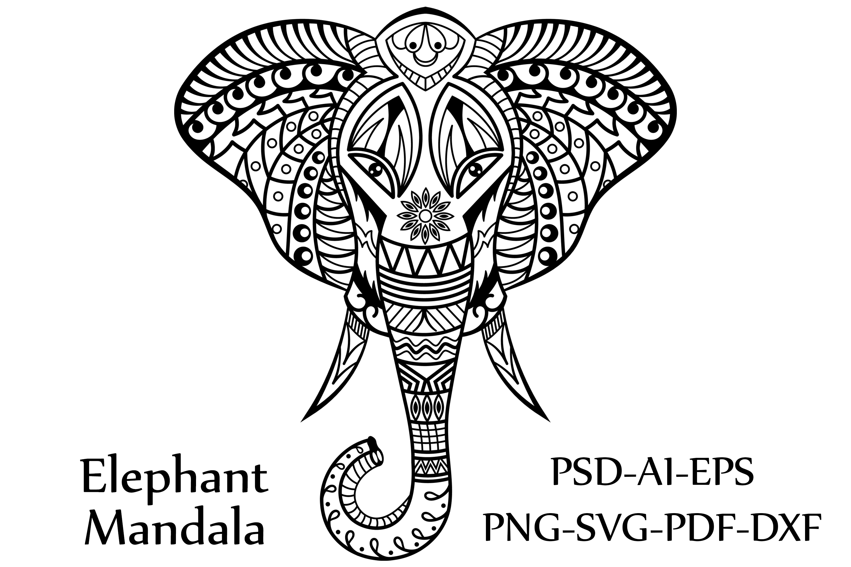 Elephant Mandala | vector files example image 2