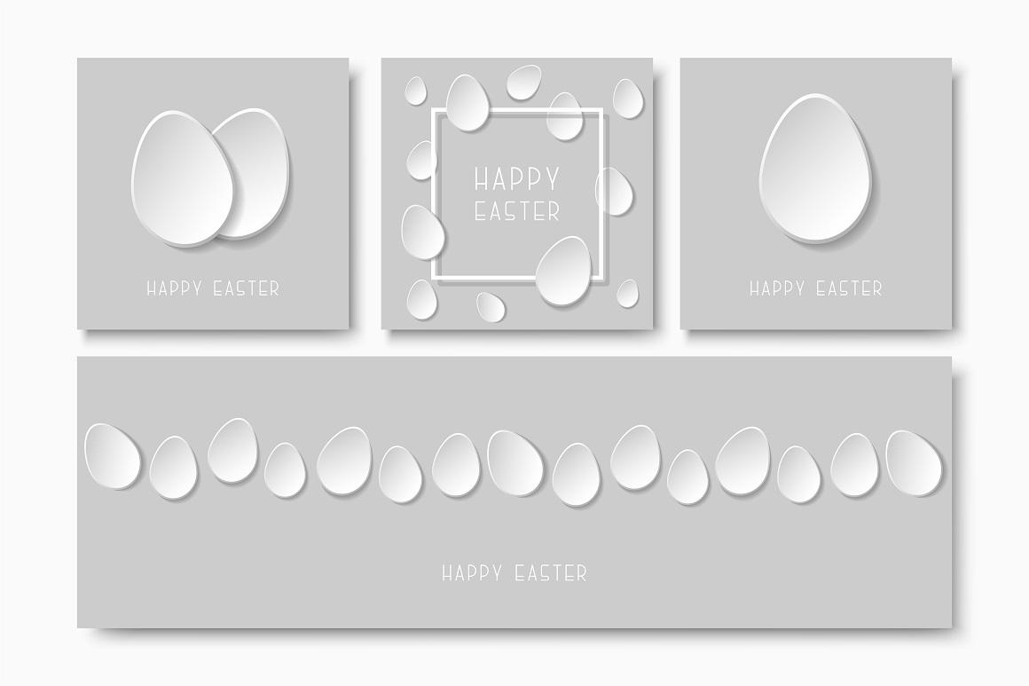 Greeting happy easter paper cards. example image 1