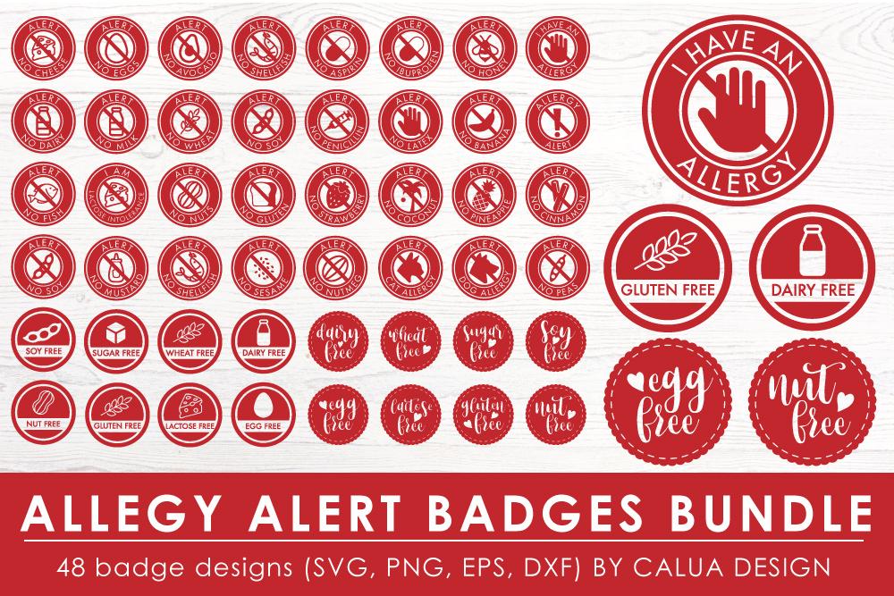 Allergy Alert Badges SVG Cut File Bundle example image 1