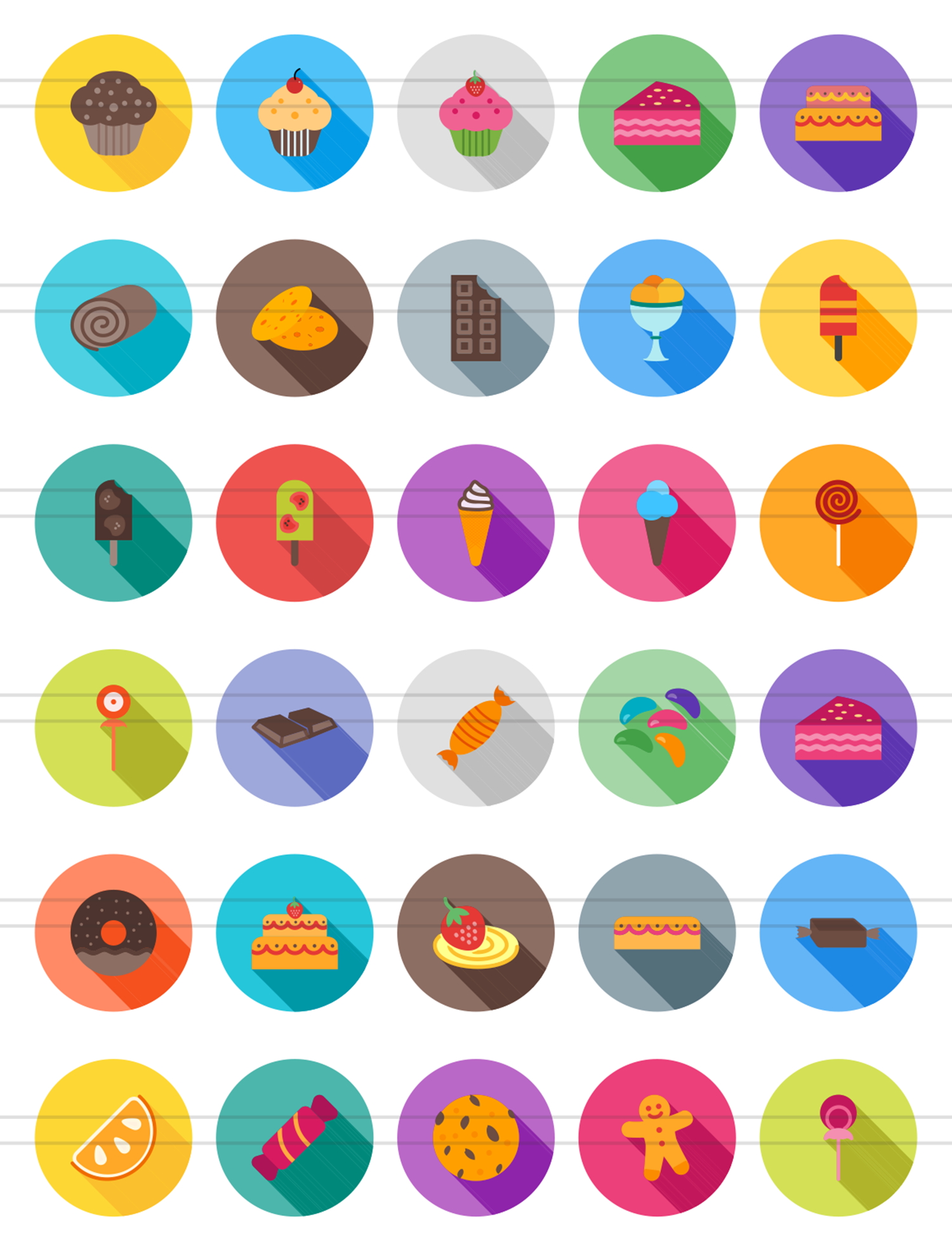 30 Sweets & Confectionery Flat Long Shadow Icons example image 2