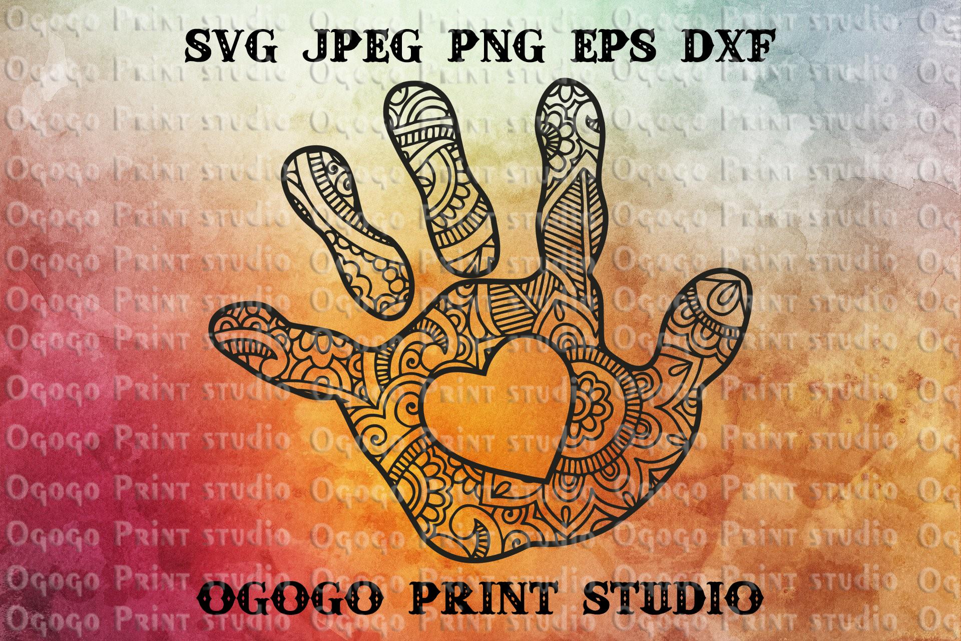 Baby Hand SVG, Mandala svg, Mothers day Zentangle SVG example image 1