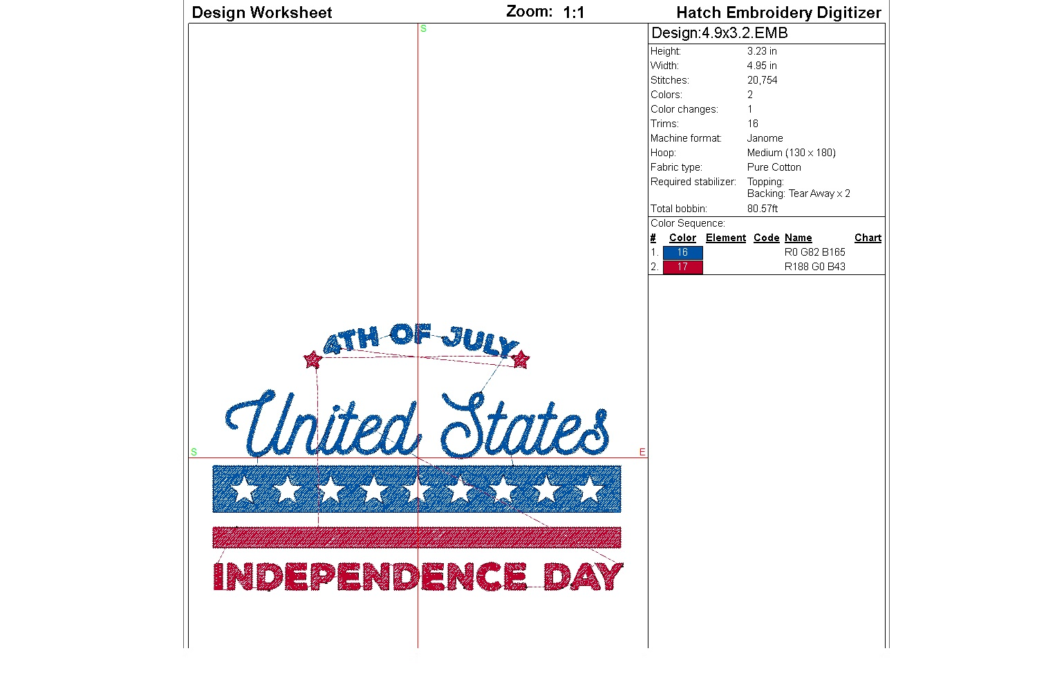 July 4th Embroidery | Independence day | Machine embroidery| example image 3