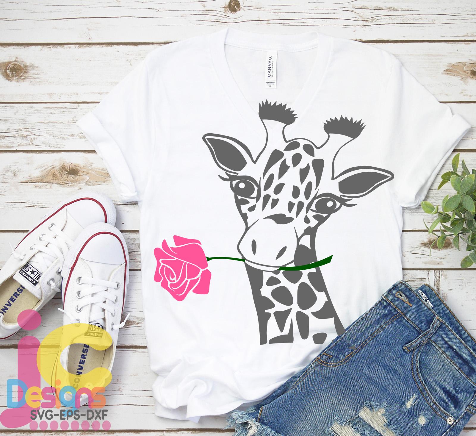 Giraffe Face svg, Flower Rose Safari Giraffe head cut file example image 4