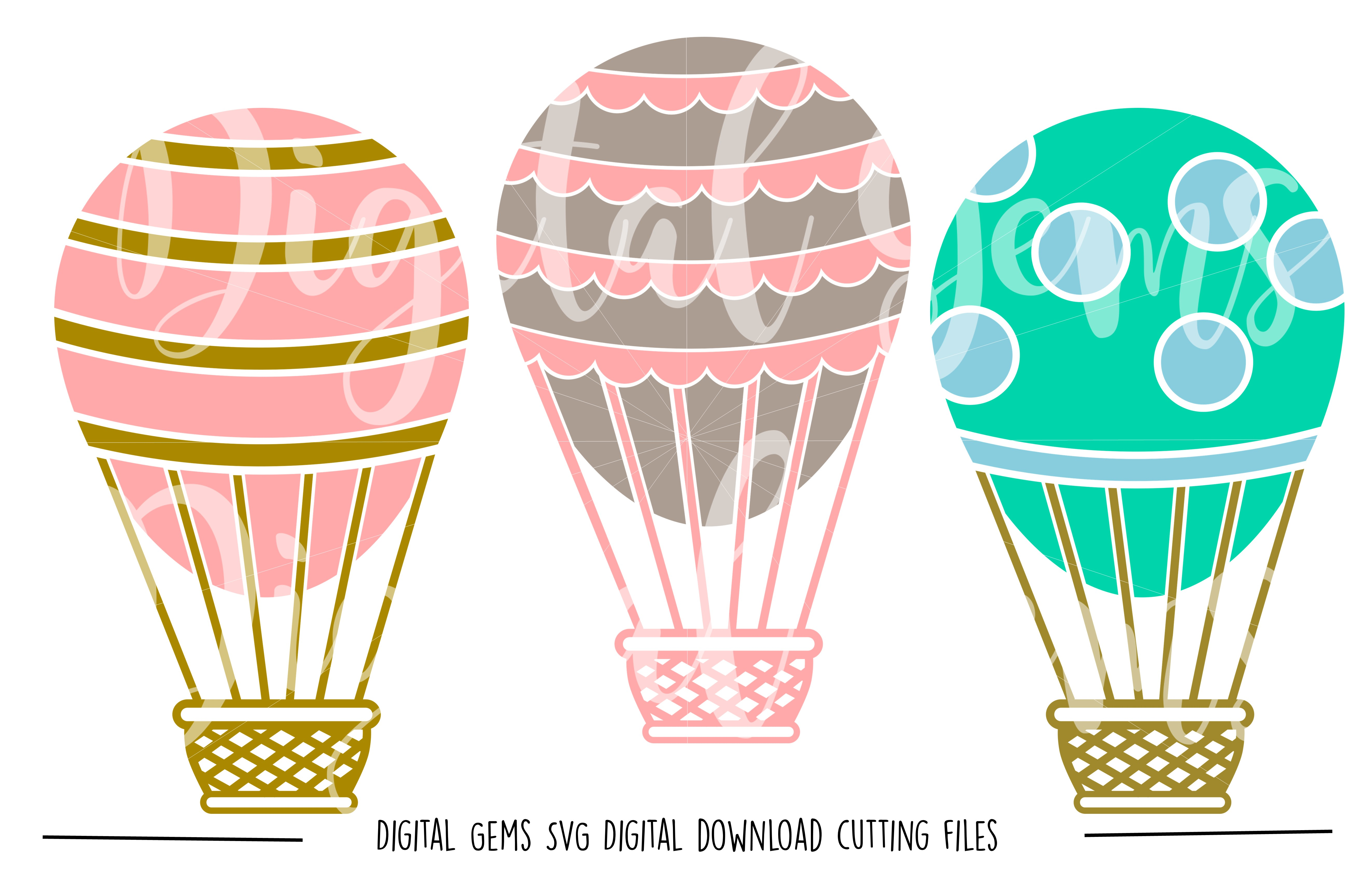 Hot Air Balloon SVG / PNG / EPS / DXF Files example image 1