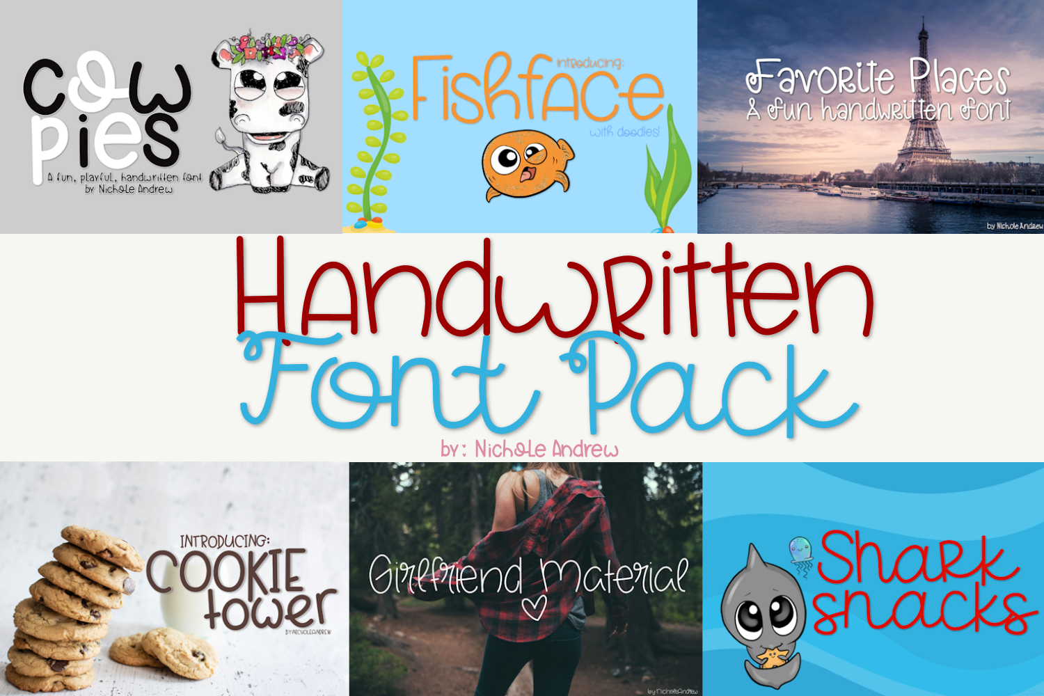 Handwritten Font Pack Featuring 6 Fun Fonts example image 1