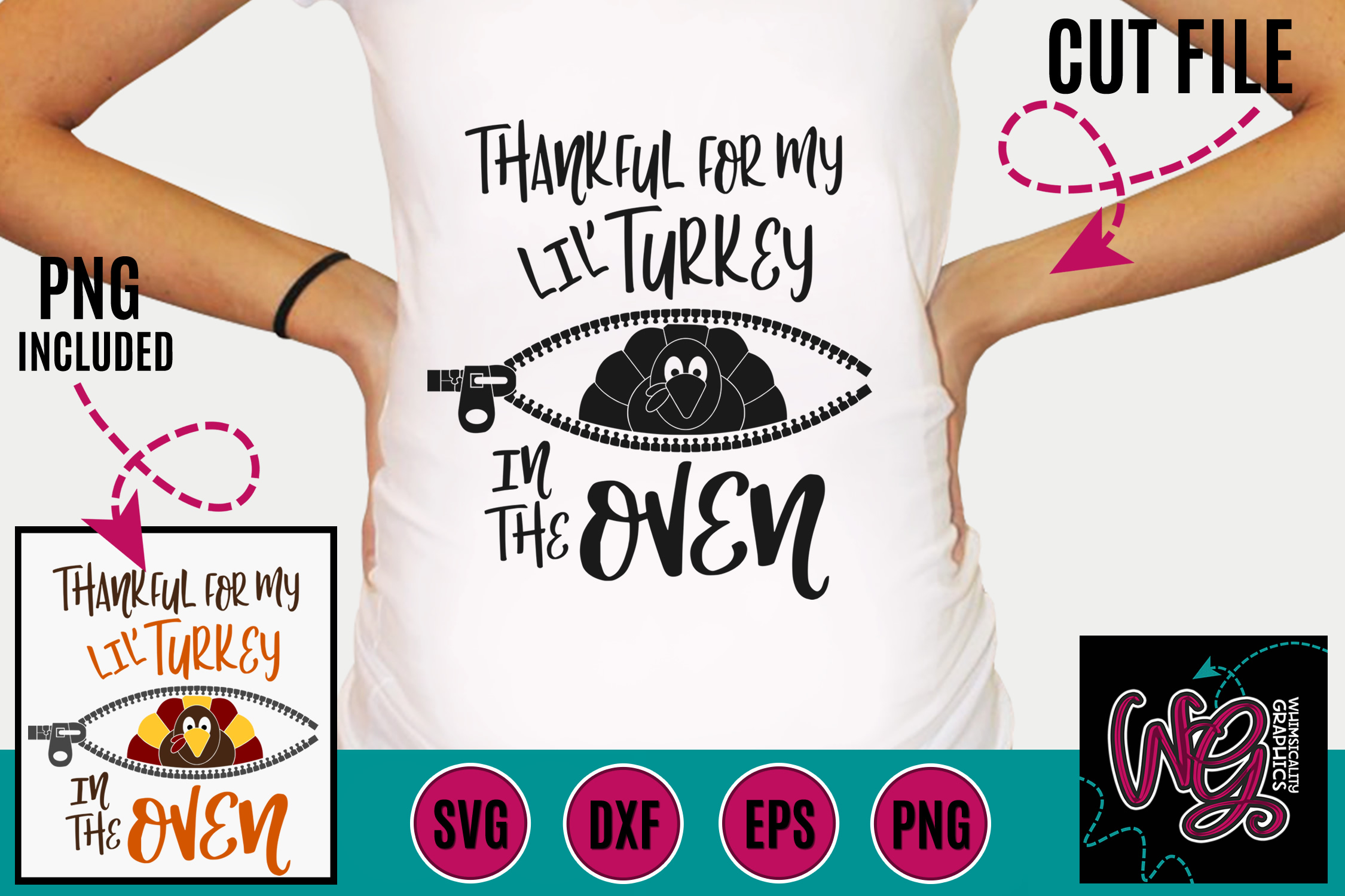 Pregnancy Thankful For My Lil' Turkey SVG DXF PNG EPS example image 1