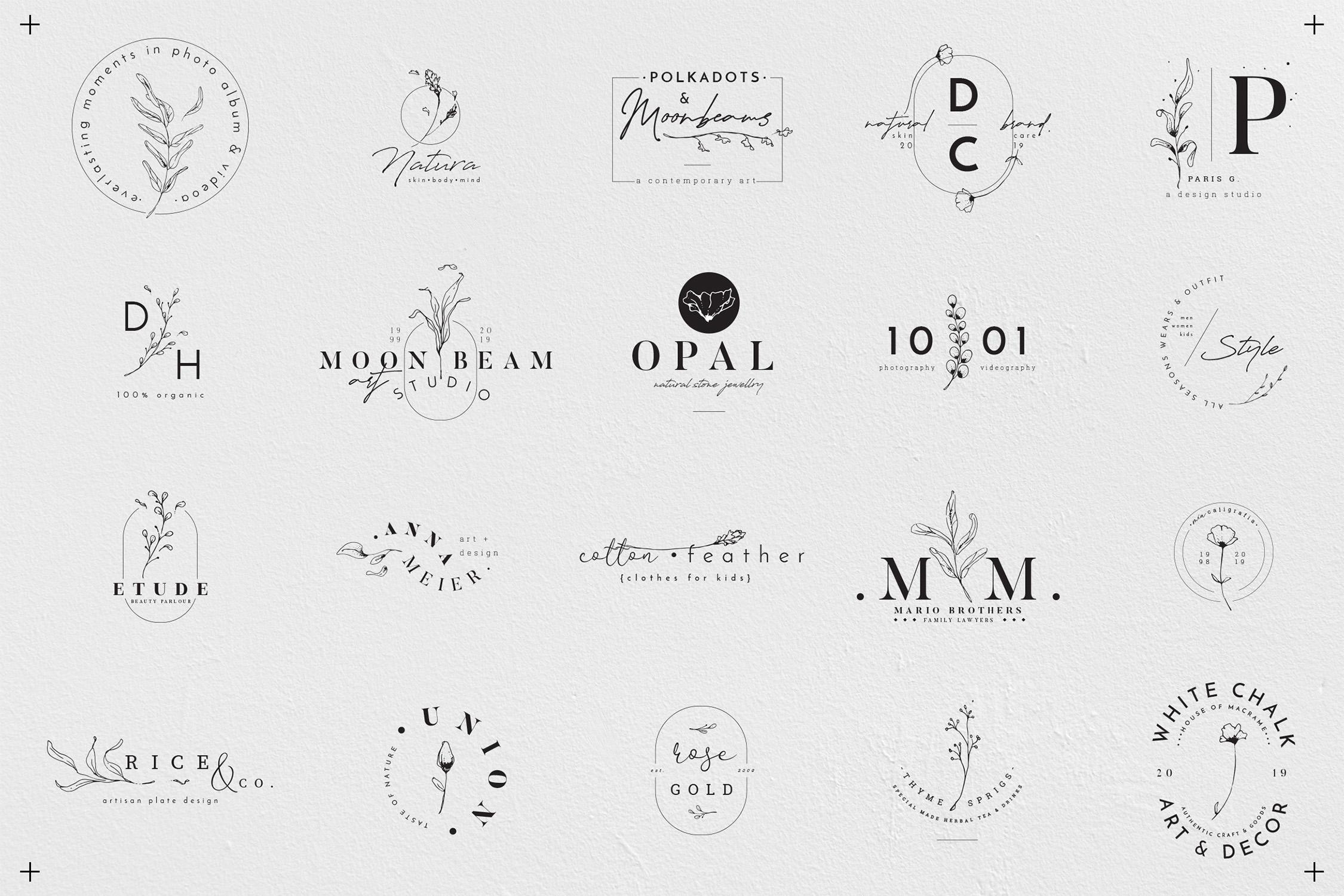 Floral Outline Illustration & Logo Pack example image 14