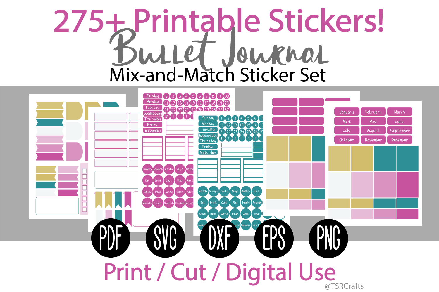 Bullet Journal and Planner Sticker Set - Rainbow Sherbet example image 1