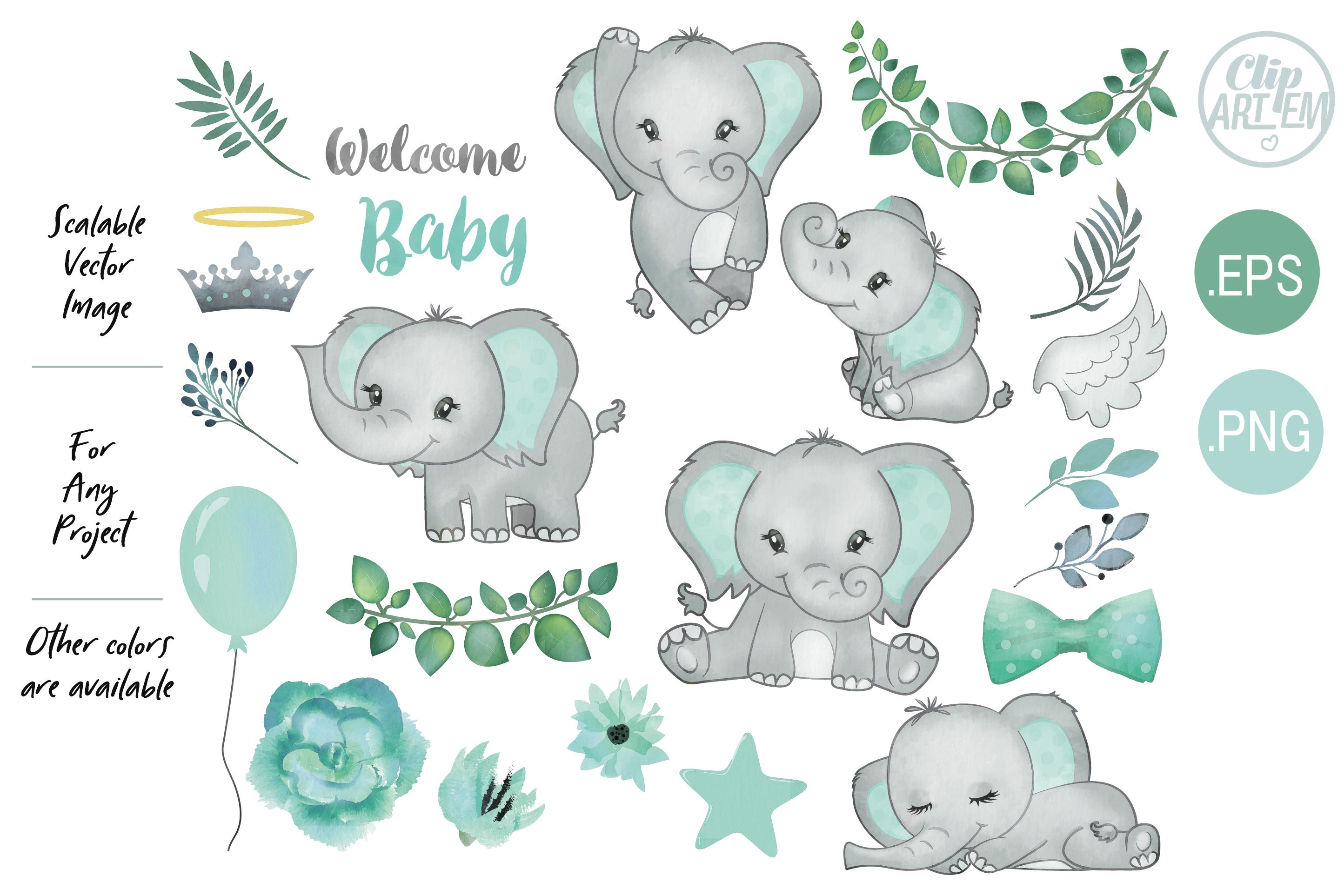 Mint Watercolor Elephants Set, Welcome Baby example image 1