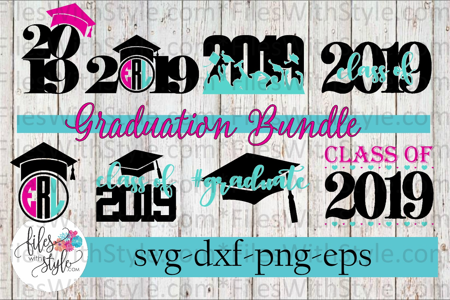 GRADUATION BUNDLE Class of 2019 Graduate SVG Cutting Files example image 1