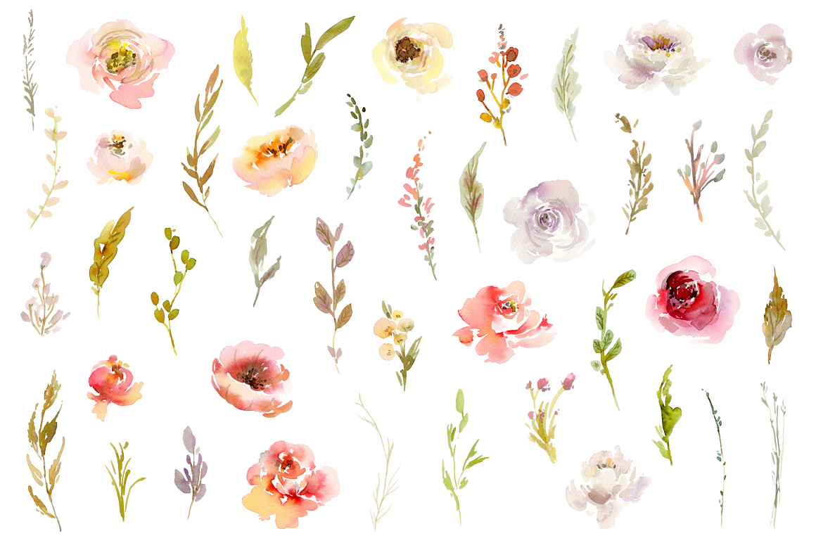 Watercolor Pink White Red Flowers PNG Collection example image 2