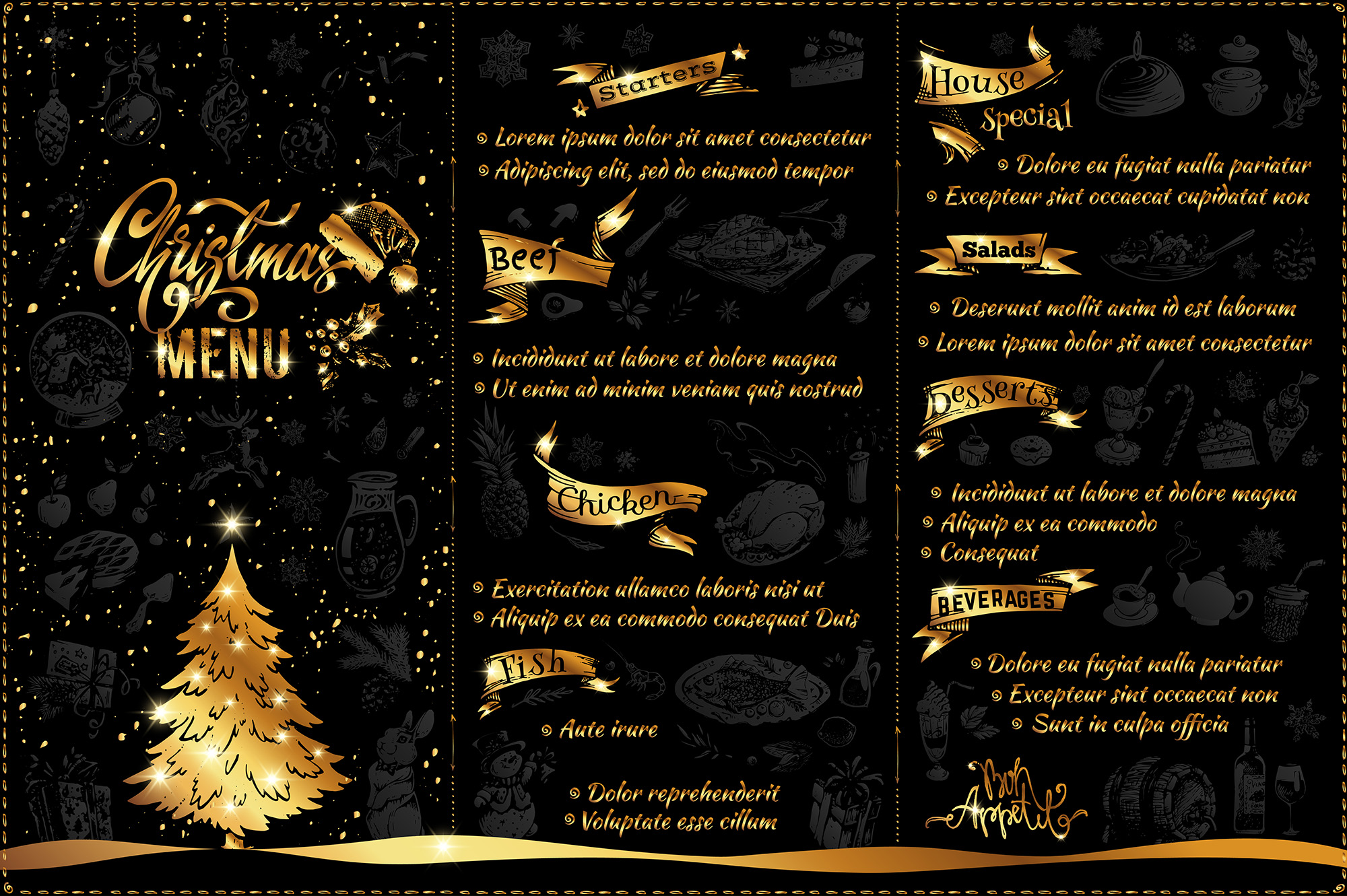 Christmas Menu Design. Hand Drawn Illustrations example image 2