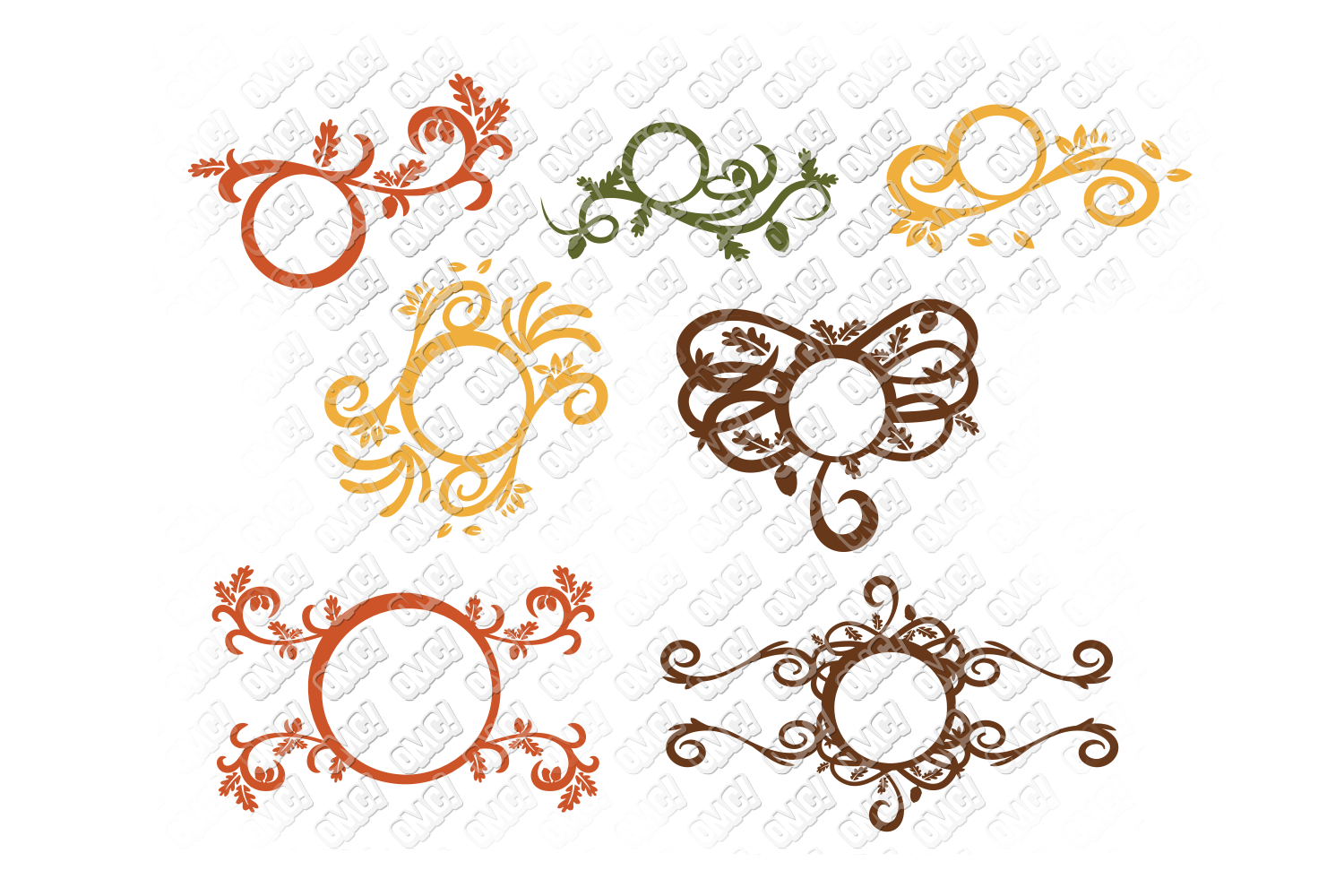 Fall Flourish SVG Monogram Border in SVG, DXF, PNG, EPS, JPG example image 3