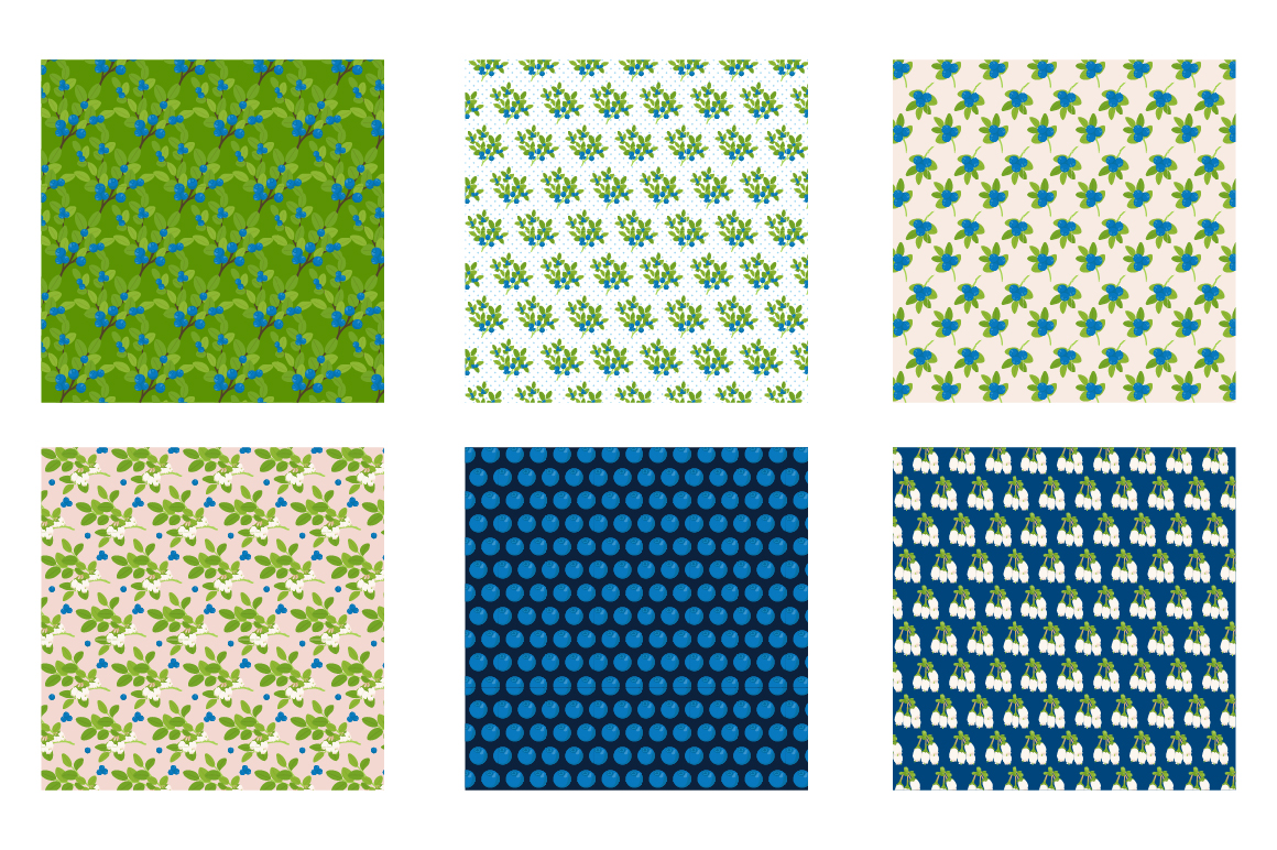 Blueberry Dream Pattern collection, vector ai, eps and jpeg example image 3