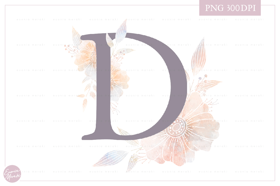 Letter D Floral MONOGRAM - dusty color flower initial example image 1