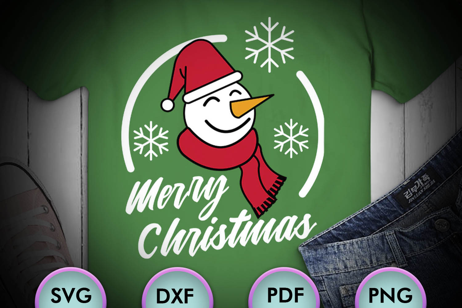 Merry Christmas SVG, Snowman SVG, Winter SVG, Carrots example image 1