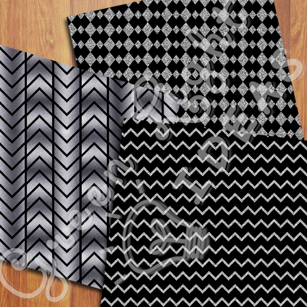 Black and Silver Digital Papers example image 4