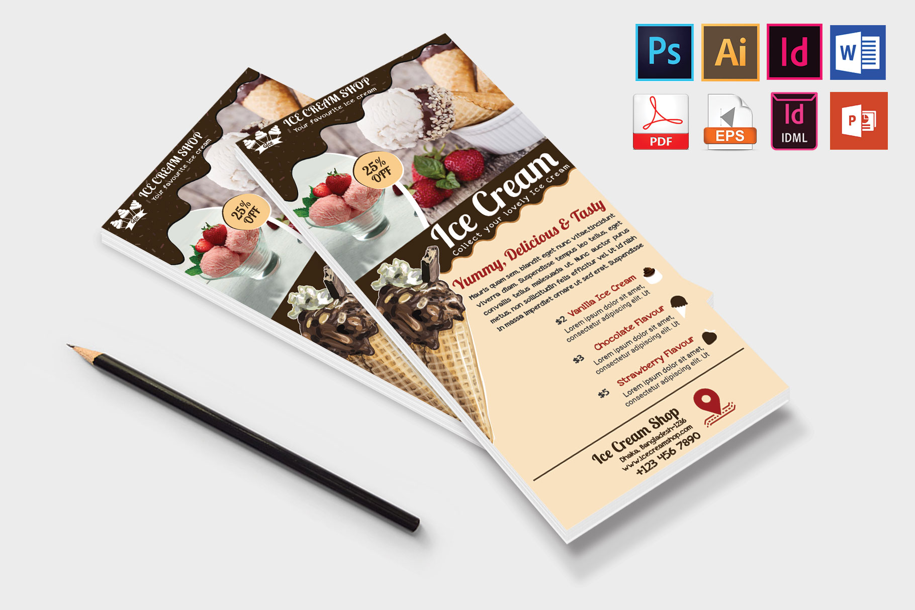 Rack Card | Ice Cream Shop DL Flyer Vol-03 example image 4