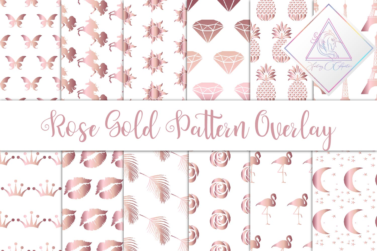 Rose Gold Seamless Pattern Overlay Clipart example image 1